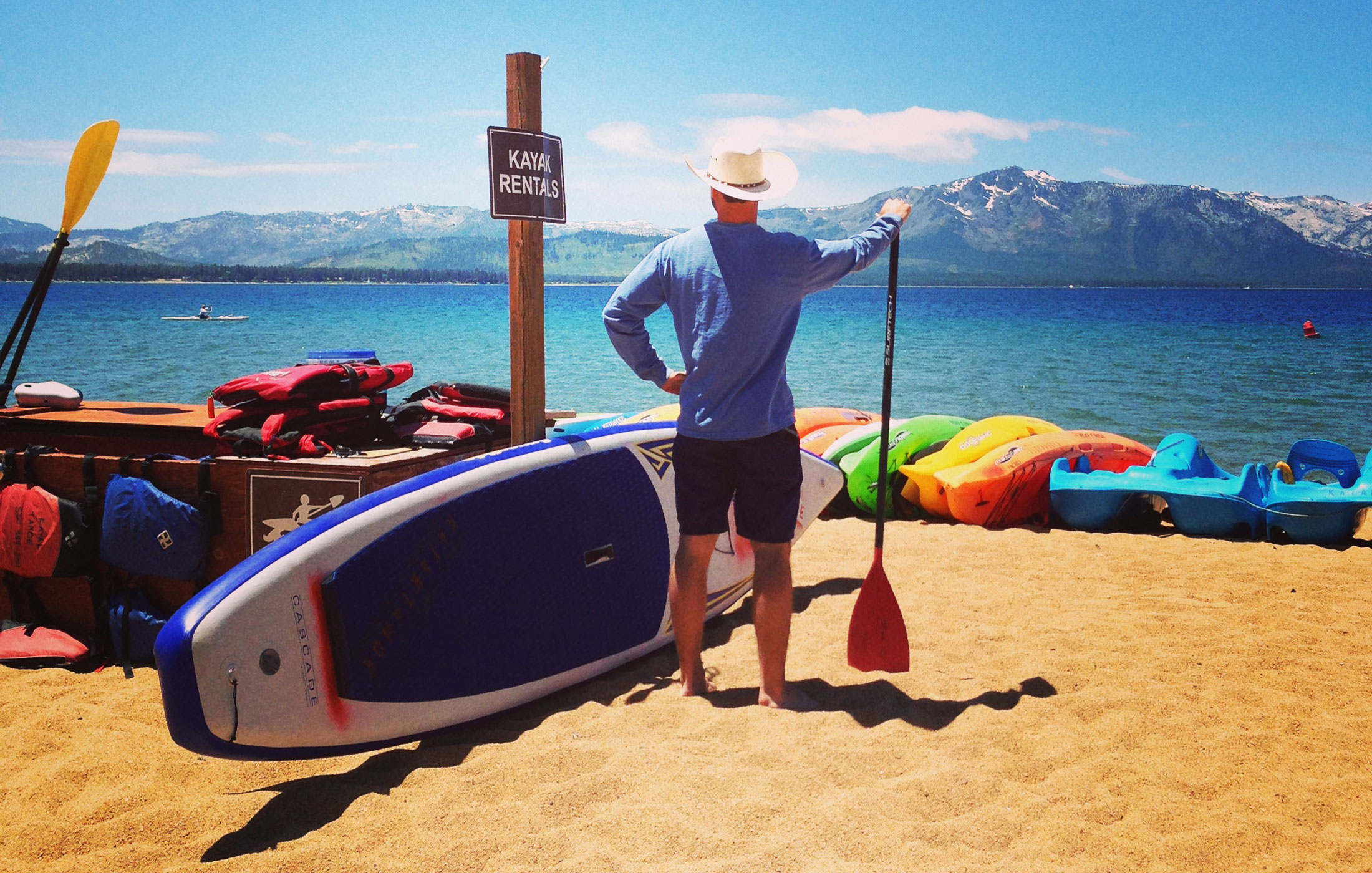 Kayak Rental fleet at Nevada Beach